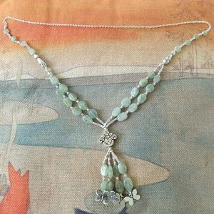 Over head nephrite jade necklace 31 inches long